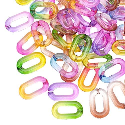 PandaHall 100 anillos de unión de acrílico, 5 colores, conectores de enlace rápido para pendientes, collares, joyas, gafas, bricolaje, manualidades, manualidades, etc.