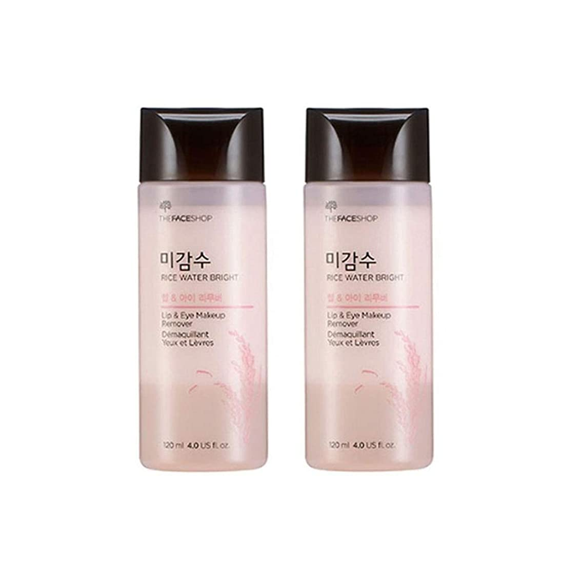 カーテン高める制約ザ?フェイスショップ米感水ブライトリップ&アイリムーバー120ml x 2本セット韓国コスメ、The Face Shop Rice Water Bright Lip&Eye Remover 120ml x 2ea Set Korean Cosmetics [並行輸入品]