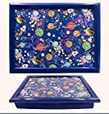 Lap Tray Serving Bean Bag TV Bed Soft Cushion Padded - Space Spaceship Children Kids