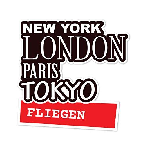 JOllify sticker - vliegen - 10cm - Design: New York, London, Paris, Tokyo