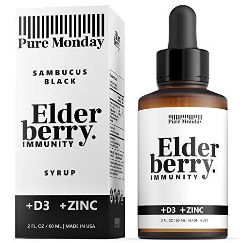 Pure Monday Elderberry Syrup for Adults and Kids with Zinc and Vitamin D - Immune Support - Organic Sambucus Black Extract - Liquid Drops - USA Made