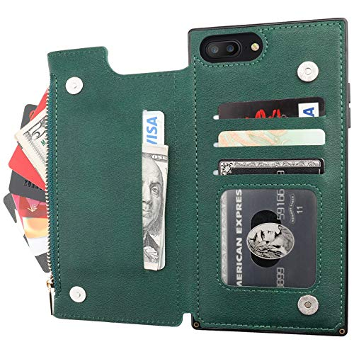 Bocasal Wallet Case for iPhone 7 Plus/8 Plus with 3 Card Slots Cash Holder Zipper Design Premium PU Leather Sturdy Magnetic Closure 5.5 Inch(Green)