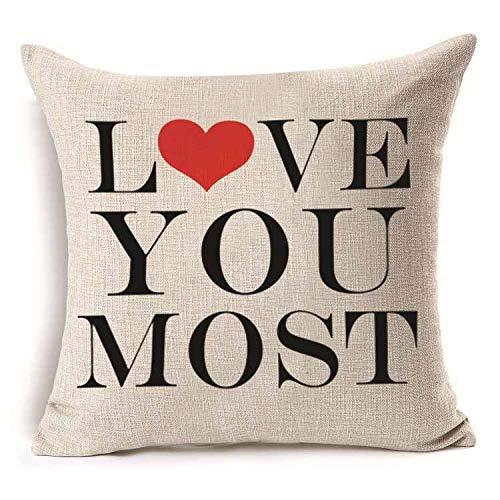 Yilooom Funda de almohada de 35,5 x 35,5 cm, diseño de amor Mr Mrs, algodón y lino, para regalo, decoración del hogar, decoración de boda, funda de almohada decorativa #310