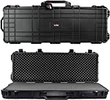 Eylar 48' Inch Protective Roller Tactical Rifle Hard Case with Foam, Mil-Spec Waterproof & Crushproof, Two Rifles Or Multiple Guns, Pressure Valve with Lockable Fittings Black