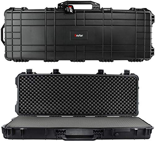 """Eylar 48"""" Inch Protective Roller Tactical Rifle Hard Case with Foam, Mil-Spec Waterproof & Crushproof, Two Rifles Or Multiple Guns, Pressure Valve with Lockable Fittings Black"""