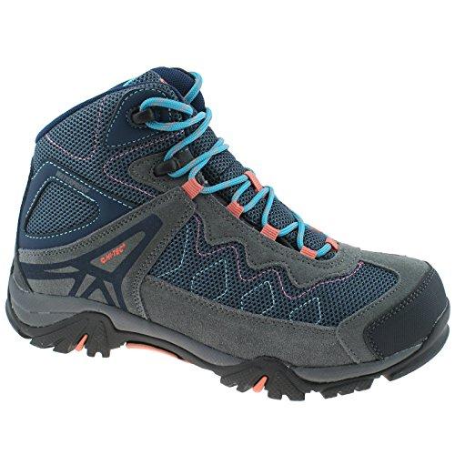 HI-TEC Girls Astro Hike WP Waterproof Cool Grey/Blue/Punch Walking Hiking Boots-UK 5 (EU 38)