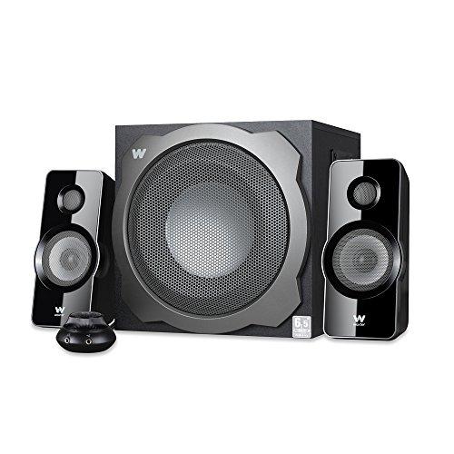 Woxter Big Bass 260 S - Altavoces 2.1 (150W,Subwoofer de Madera,Control de Volumen con Cable y Doble conexión, Ideal para TV, PC y videoconsolas), Color Plata