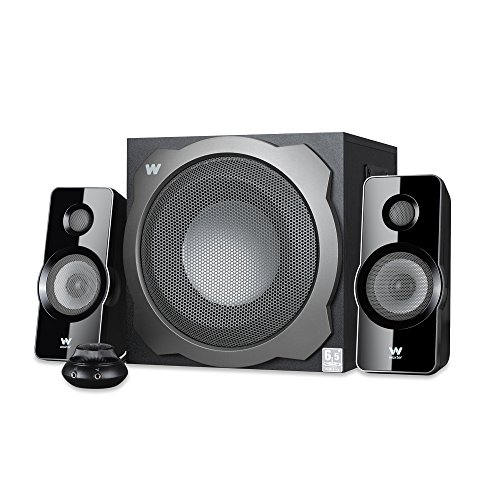 Woxter Big Bass 260 S - Altavoces 2.1 150W, Subwoofer de madera, Rejilla metálica, Control de volumen con cable, AUX, Adecuado para TV, PC y videoconsolas, Bookself Speakers, color Plateado