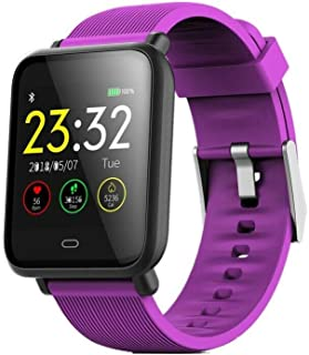 DishyKooker Q9 Smart Watch - Reloj inteligente con monitor de presión arterial y pulsómetro, impermeable, color morado