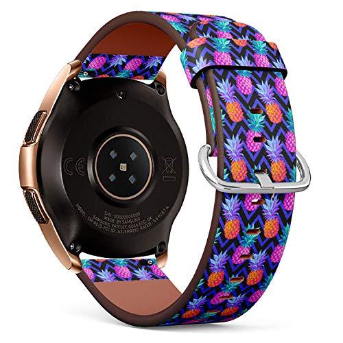 R-Rong kompatibel Watch Armband, Echtes Leder Uhrenarmband f¨¹r Samsung Galaxy Watch 42MM - Neon Color Pineapple on Zig Zag
