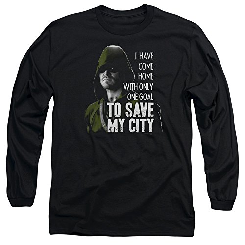 Green Arrow - T-shirt Save My City Hommes manches longues, X-Large, Black