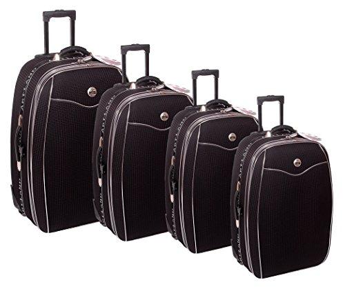 Reisekoffer, Koffer, Kofferset, Trolley, mit Dehnfalte, 4 TLG, dunkelblau