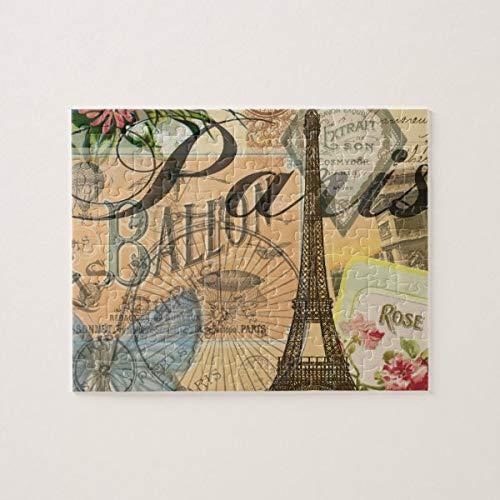 CICIDI Paris France Vintage Travel Collage Jigsaw Puzzle 1000 Pieces for Adult, Entertainment DIY Toys for Graet Gift Home Decor