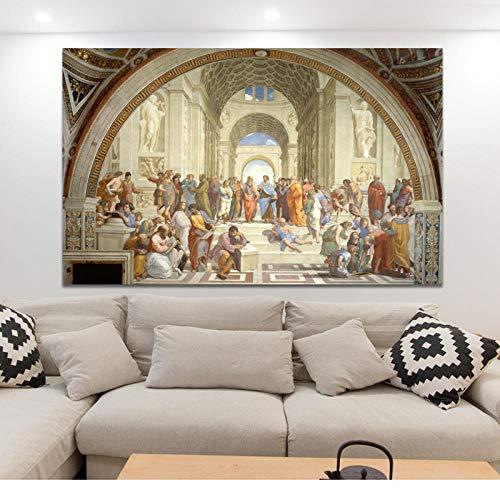 QianLei Famosa Scuola d'Arte pittorica di Atene di Raffaello, Poster e Stampe su Tela Wall Art 50x75cm Nessuna Cornice