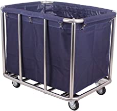 WXYAN Laundry Trolley Cart with 4 Casters, Laundry Sorter Removable Fabric Bags, Laundry Container On Wheels for Hotel Bat...