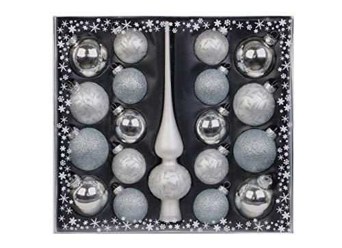 MAGIC Kugelsortiment Glas Dekor 19 TLG. mit Spitze Christbaumkugeln Christbaumschmuck Tannenbaum Deko Weihnachten Weihnachtskugeln Farbe: Weiss Silber
