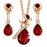 CDE Ladies Necklaces Set Rose Flower Jewelry Sets for Women Rose Gold Embellished with Crystals from Austria Necklace and Earring Set Christmas Jewelry Gifts for Women