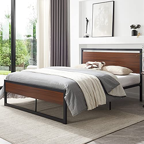 Queen Bed Frame with Headboard, Metal Platform Bed Frame with Footboard, Mattress Foundation, No Box Spring Needed, Practical Storage Space, Sturdy Steel Structure, Easy to Assemble (Queen)
