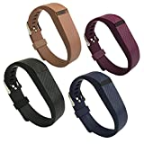 EPYSN 4PCS Band Compatible with Fitbit Flex,Silicone Replacement Wristband for Fitbit Flex Bracelet Sport Bands with Metal Watch Band Buckle Large/Small Black-Navy-Brown-Purple