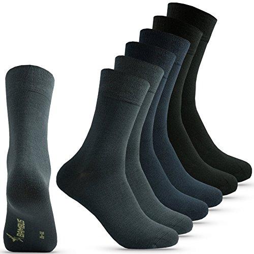 Happy Bavaria 6 Paar Bambus Socken Herren schwarz Bambussocken Herren schwarz blau 43-46 Viskose Antibakteriell ohne Gummibund Naht (gemischt, 43-46)