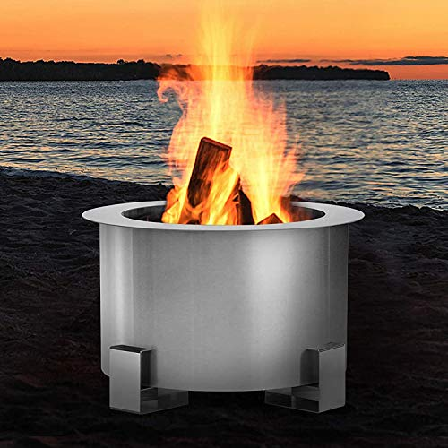 U-MAX Outdoor Smokeless 21.5' Fire Pit, 304 Stainless Steel...