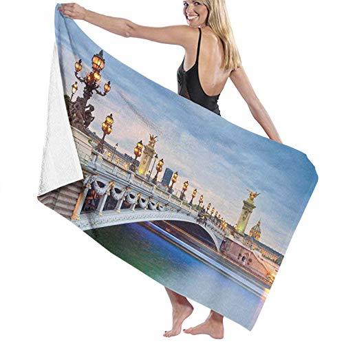 Grande Suave Toalla de Baño Manta,París, el Puente Alexandre III ubicado en París, Francia y esculturas Estatua Urbana,Hoja de Baño Toalla de Playa por la Familia Viaje Nadando Deportes,52' x 32'
