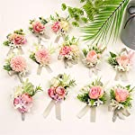 usix 2pc pack-handmade men's lapel pin artificial pink ivory hydrangea flower boutonniere pin for suit wedding groom groomsmen brooch rose boutonniere (style a)