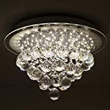 Horisun Crystal LED Ceiling Light Fixture Flush Mount, K9 Gorgeous Crystal Ball Pendant Lamp Ceiling, Dimmable Modern Round Chandelier for Dining Room, Bedroom, Kitchen, Staireweel, 4000K, 1980LM