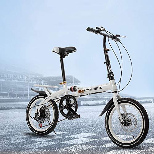 WAHHW 16-Zoll-Faltradschaltung, Einrad-Doppelscheibenbremse Reiserad männlich und weiblich klappbar Studentenauto,Weiß