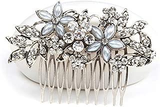 Women Flower Crystal Rhinestone Pearls White K Hair Comb Clip Wedding Bridal (Silver)