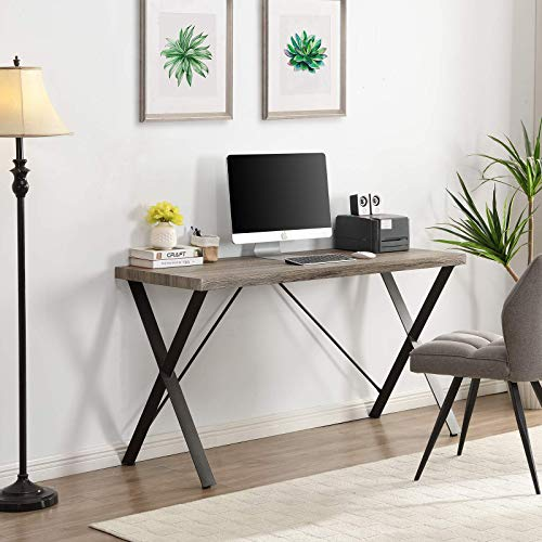 HOMYSHOPY Escritorio para ordenador, mesa de estudio de 55 pulgadas con patas de metal X-Sharp y escritorio de PC de estilo moderno y simple para oficina en casa, acabado gris