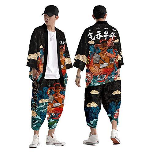 Uomo Kimono Camicia,Kimono Giapponese Robe Harem Pantaloni Tuta Pantaloni Casual da Uomo a Gamba Larga Camicia Tradizionale Yukata Streetwear Grandi Dimensioni Abito in Due Pezzi,Black-6XL