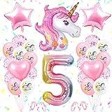 Unicornio Decoración de Cumpleaños 5 Años, Globo de Unicornio 3D con Pancarta de Cumpleaños Numero 5 Cumpleaños Globos Latex Globos para decoracion de Fiesta de Cumpleaños Niña