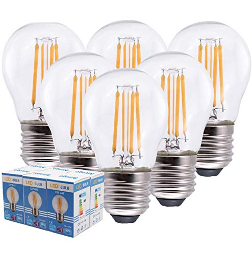 G45 4W LED-Glühlampen, Kleine Edison-Schraube E27 40W Glühlampenäquivalent, LED-Glaskolben mit Glaskolben aus Glas, 6500K Tageslichtweiß, nicht Dimmbar, 6 Stück