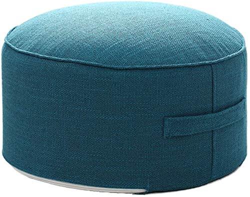 ZCM Fußhocker Round Pouf Sofa Couch Pouffe Ottoman, Fußbeinstütze Tritthocker Mit Griff & Abnehmbarem Bezug Für Zuhause(Color:Blau,Size:40x20x20cm(16x8x8))