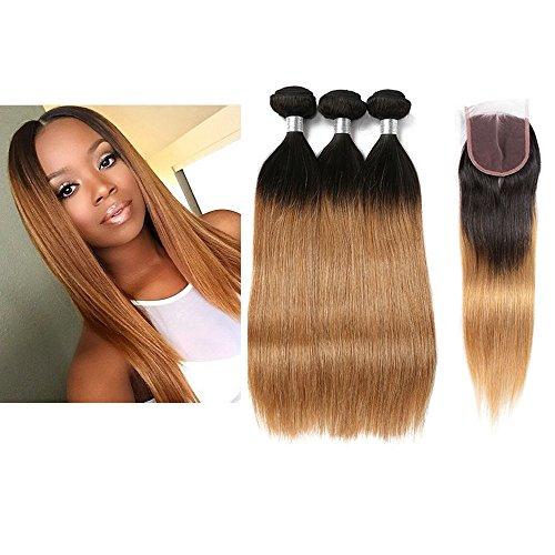 Mila Tie and Dye Naturel Tissage 3 boule Humain Cheveux Ombre 1B/27# Blond Miel Lisse Bresilienne Mèches Virgin Remy Hair 100g/pc avec Lace Closure (16\