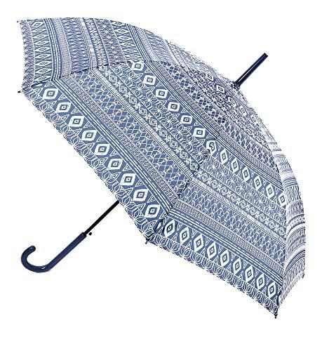 Paraguas Vogue. Paraguas Mujer Estampado Estilo étnico. Se confecciona en Seis Bonitos Colores. Paraguas Automático y antiviento. Mango Efecto esmaltado.(Azul Oscuro)