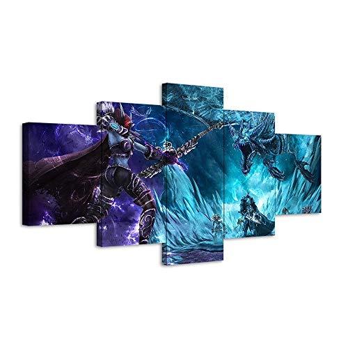 LVLJ 5 Piezas Cuadros En Lienzos Videojuego De World of Warcraft Cuadros Modernos Impresión De Imagen Artística Decorativo para Salón O Dormitorio