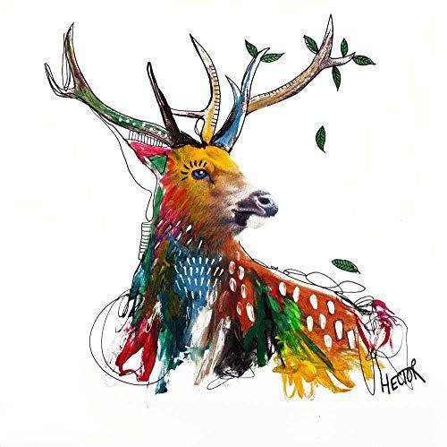 Galeriebilder Kombi Kunstdruck & ORIGINAL MALEREI Deer 70x70cm auf LEINWAND Hirsch
