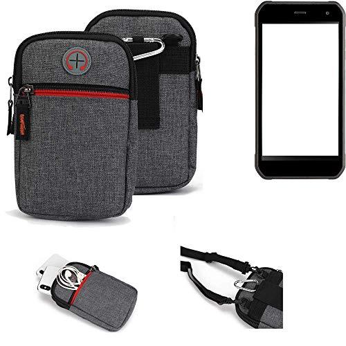 K-S-Trade® Gürtel-Tasche Für Cyrus CS 40 Handy-Tasche Schutz-hülle Grau Zusatzfächer 1x