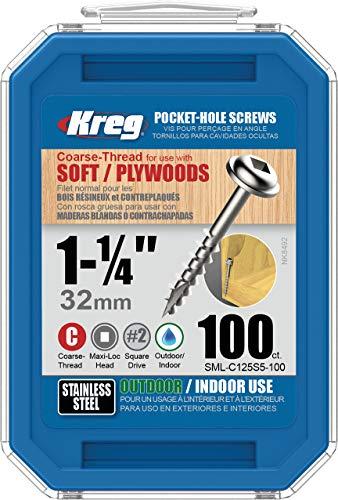 Kreg SML-C125S5-100 305 - Tornillos de agujero de bolsillo de acero inoxidable, 1 1/4 pulgadas, 8 grueso, cabeza de arandela, 100 unidades