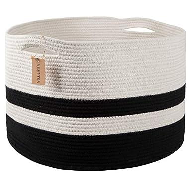 Numyton XXXL Large Cotton Rope Laundry Basket 22  x22 x 14  Woven Basket,Toy Storage Basket, Blankets Basket Nursery Hamper, White Black