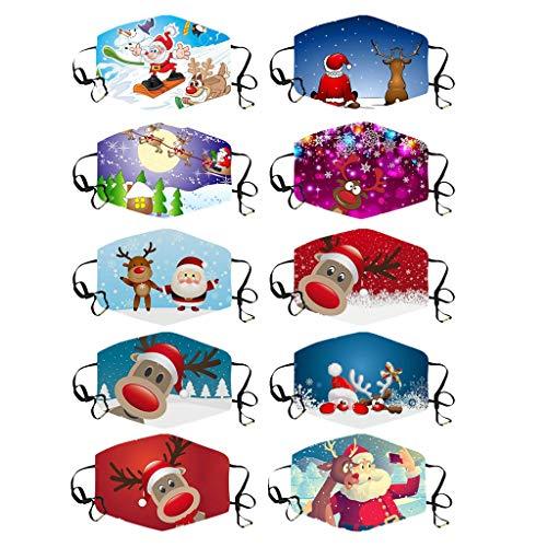COZOCO 5pcs Navidad Floral Impreso, festivo vestido personalizado Mascarilla linda