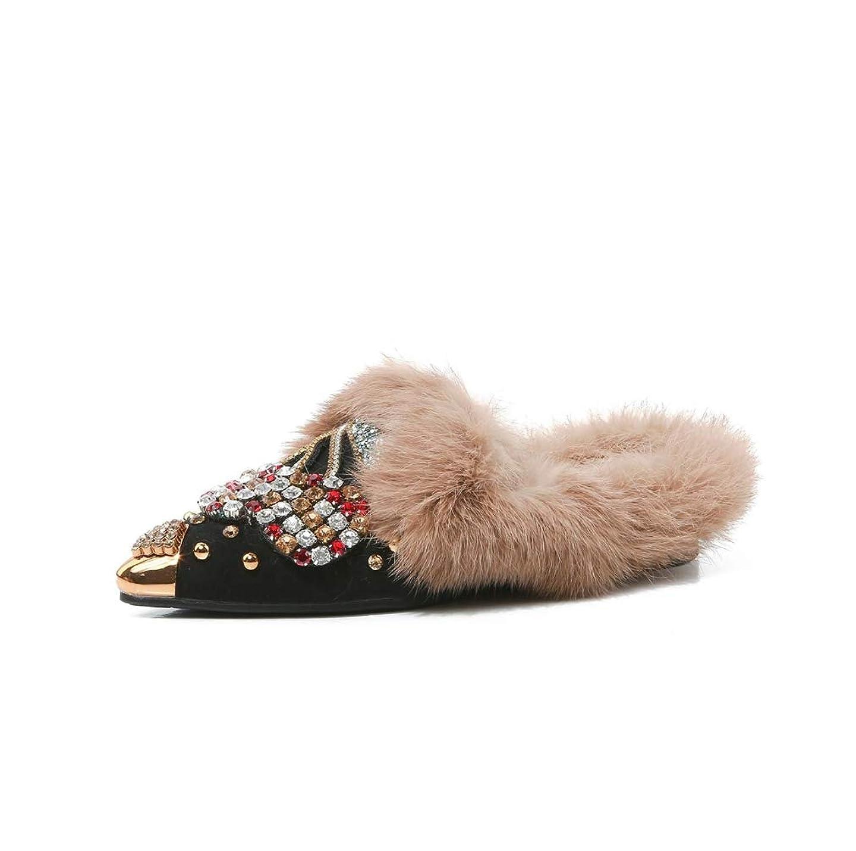 サイト規模他の場所ファーサンダル レディース ビジュー フラット ミュール ポインテッドトゥ サボ シューズ 歩きやすい 秋冬用 美脚 痛くない 通勤 オフィス ol シンプル 大人 靴 防寒 通学 女性用 かわいい ふわふわ もこもこ 韓国風 ファション ローファー