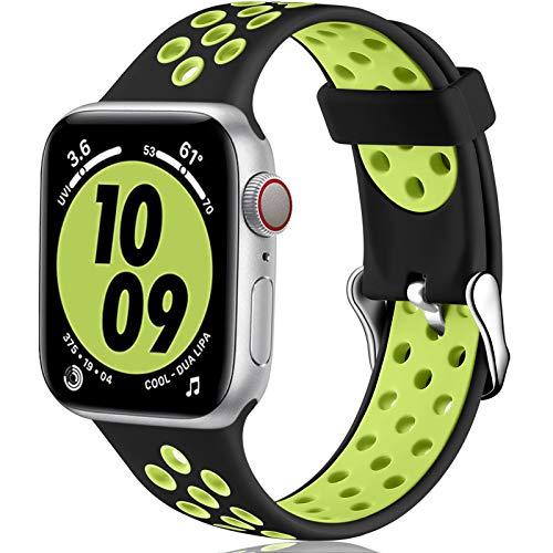 Oielai Cinturino Compatibile con Apple Watch Cinturino 38MM 40MM 42MM 44MM, Sport Silicone Morbido Sostituzione Cinturino per iWatch Serie 6, Serie 3 5 4 SE 2 1, 38MM/40MM S/M Nero/Verde