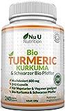 Bio Curcuma | Kurkuma Kapseln Hochdosiert 600mg | 240 Kapseln mit Biologischem Schwarzem Pfeffer | Für Vegetarier & Veganer geeignet | Bio zertifiziert von der SOIL ASSOCIATION