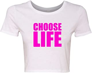 Crop Top Ladies Choose Life Wham 80's Cool Retro Funny Humor T-Shirt Tee