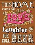 Eliuji Letrero de metal con texto en inglés «This Runs On Love» para decoración de pared, retro, a la moda, chic, divertido para bar, cafetería, garaje, casa, patio al aire libre, 20,3 x 30,4