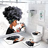 DLJGTOI Cortina de la duchaMenina Bonita Tecido de Poliéster Cortina de Chuveiro À Prova D' Água E Cobertura Toliet Mat 4 Pçs/Set para Banheiro Decoração de Casa