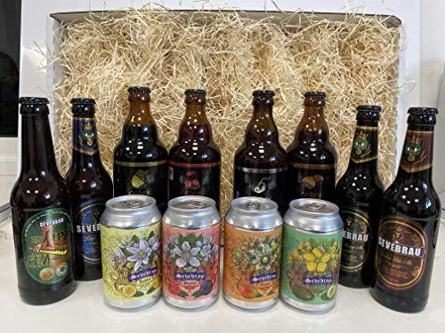 Lote degustación de cervezas artesanas 12 unidades marcas Cerex y Sevebrau 8 botellas de cristal 33cl y 4 latas 33 cl